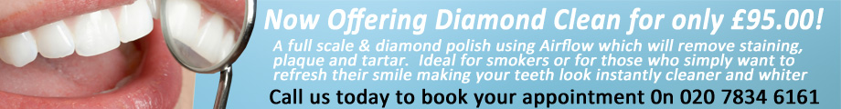 Diamond white airflow dental treatment